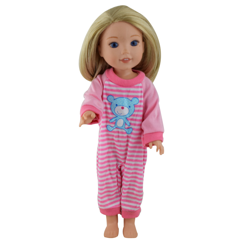 New arrives cute bear pajamas for 14.5 inch American girl doll accessories, childrens gi ...