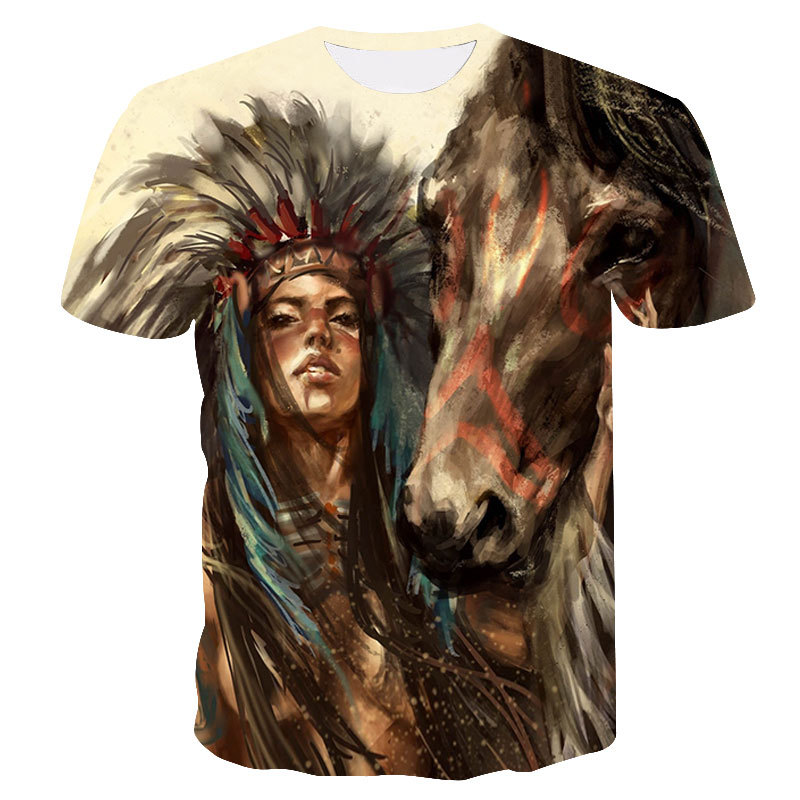 US $6 26 32% OFF|2019 New Summer Top fashion Indian Print T shirt Men/women  Animal 3D t shirt Casual Hip Hop Tee Cool Mens Clothing drop ship-in