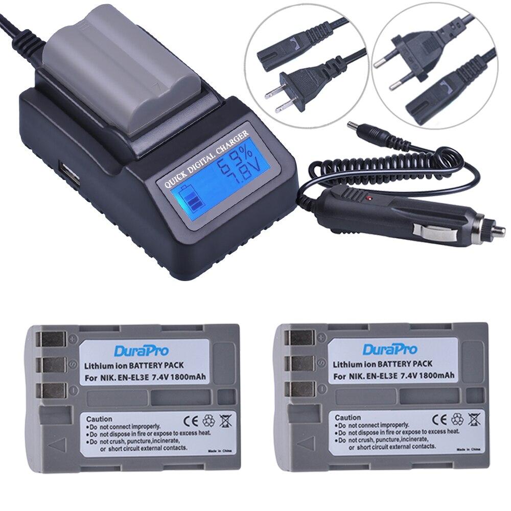 2pc EN-EL3e EN EL3e EL3a ENEL3e Rechargeable Battery + LCD Fast Charger For Nikon D70 D70S D80 D90 D100 D200 D300 D300S D700 2x 2200mah en el3e enel3e battery usb charger for nikon d90 d80 d300 d300s d700 d200 d70 d50 d70s d100 d 100 d 300 d 70 d 90 slr