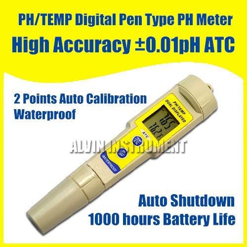 Free Shipping Digital PH Meter Tester Temperature Meter  Pen Type Accuracy +-0.01pH Waterproof ATC 2 Points Auto Cal digital indoor air quality carbon dioxide meter temperature rh humidity twa stel display 99 points made in taiwan co2 monitor