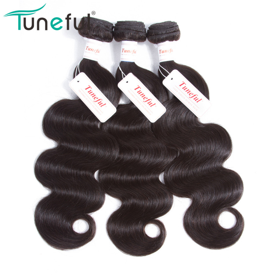 Indian Body Wave Hair 3 Bundles Tuneful Non Remy Hair Weft Extensions Natural Color Can Be Dyed 100% Human Hair Weave Bundles