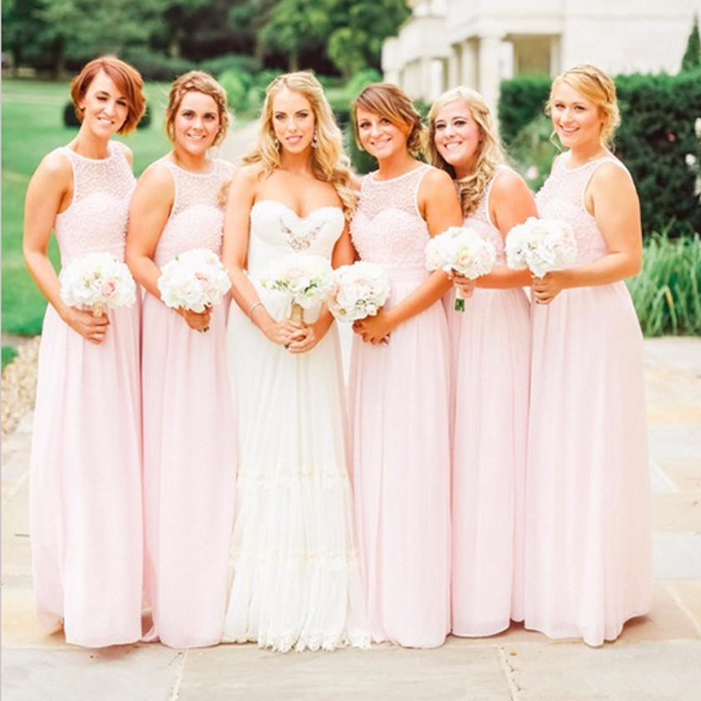 Online get cheap pearl bridesmaids dress aliexpress alibaba robe demoiselle dhonneur 2016 light pink pearls beads long chiffon bridesmaid dress wedding party ombrellifo Image collections