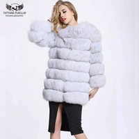 Women Genuine Whole Skin Fox Fur Coat Natural Blue Fox Fur Jacket Winter Warm Long Style Plus size BF C0266