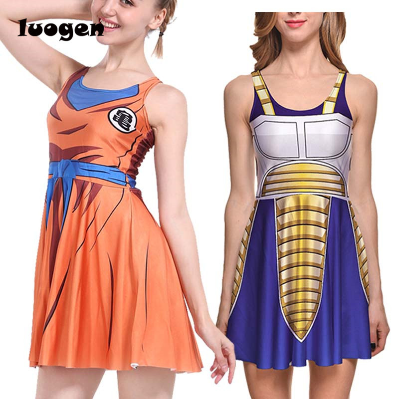 Sexy Girl Summer Dress Dragon Ball Cosplay Son Goku Vegeta Reversible Sleeveless Skater Women Pleated One-Piece Dress Plus size