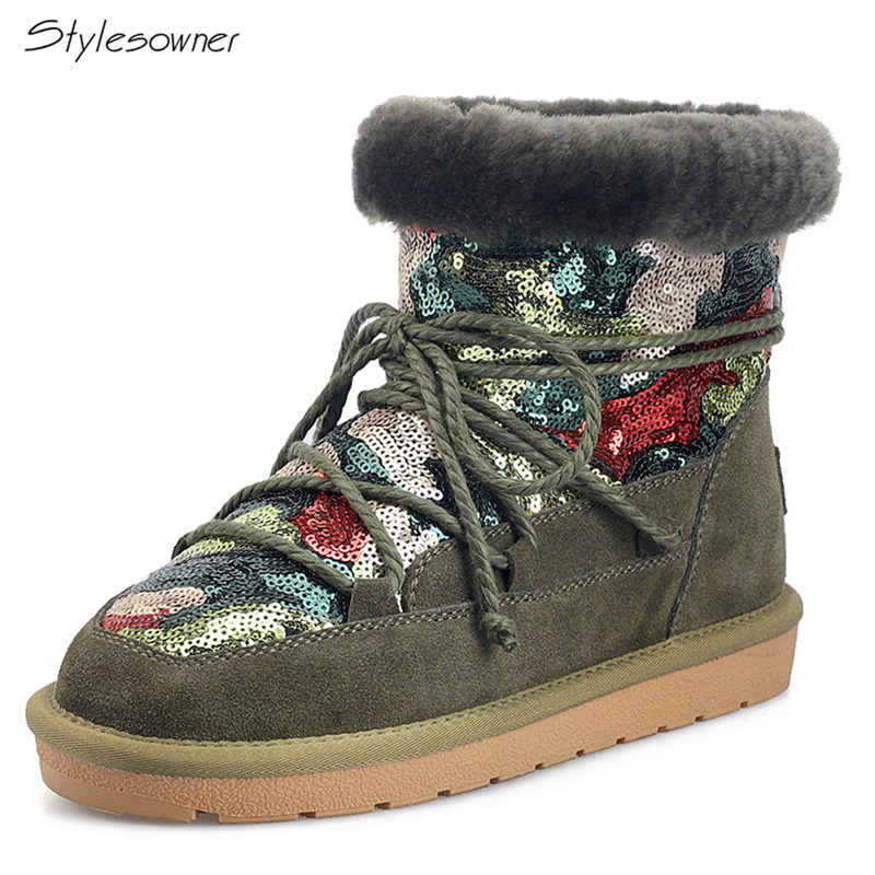 Stylesowner Women Ankle Boots Winter Lace Up Warm Wool Snow Boots Round Toe Real Suede Leather Bling Bling Boots Sequined Shoes Stylesowner Women Ankle Boots Winter Lace Up Warm Wool Snow Boots Round Toe Real Suede Leather Bling Bling Boots Sequined Shoes