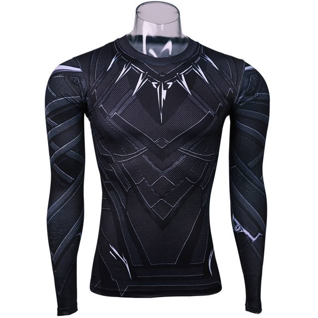 063820fad6ca9 Black Panther 3D Printed T-shirts Captain America Civil War Tee Long Sleeve  Cosplay Halloween Costumes Compression Tops Male For