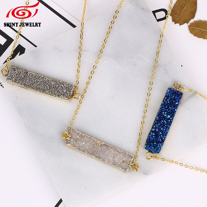 Fashion Amethysts Blue Pendant Necklace for Women Fashion Gold Plating Stone Choker Necklaces 2016