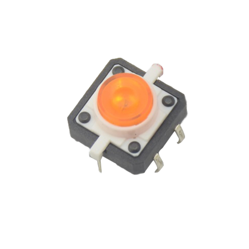 Active Components 5pcs White Led Tactile Button Push Switch Momentary Tact With Led Round Cap