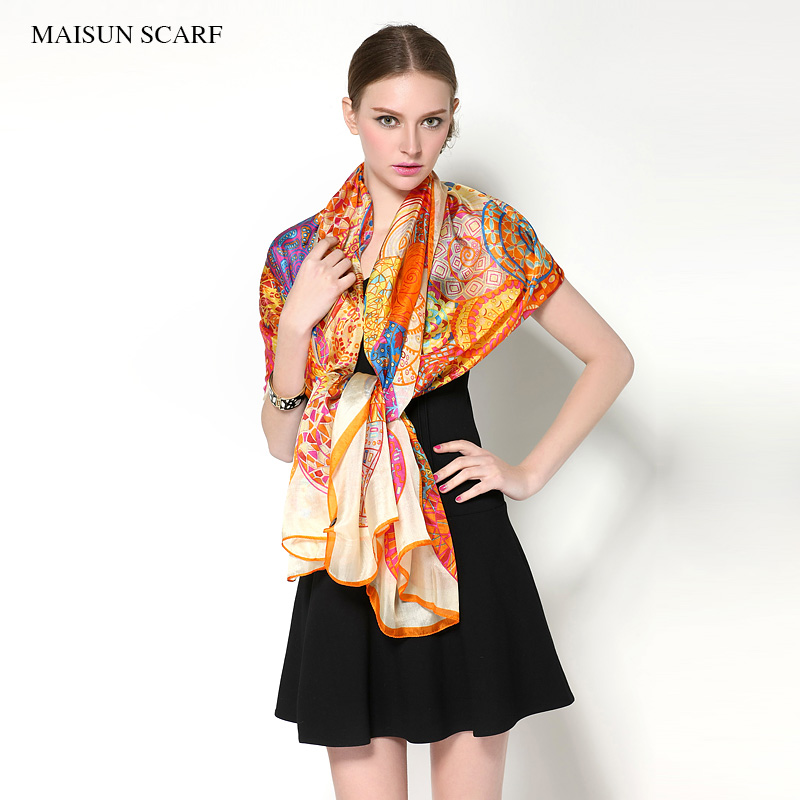 Big Size 180x110cm High Quality Spring Pure Silk Scarf Women New Style Fashion Ladies Long Shawl