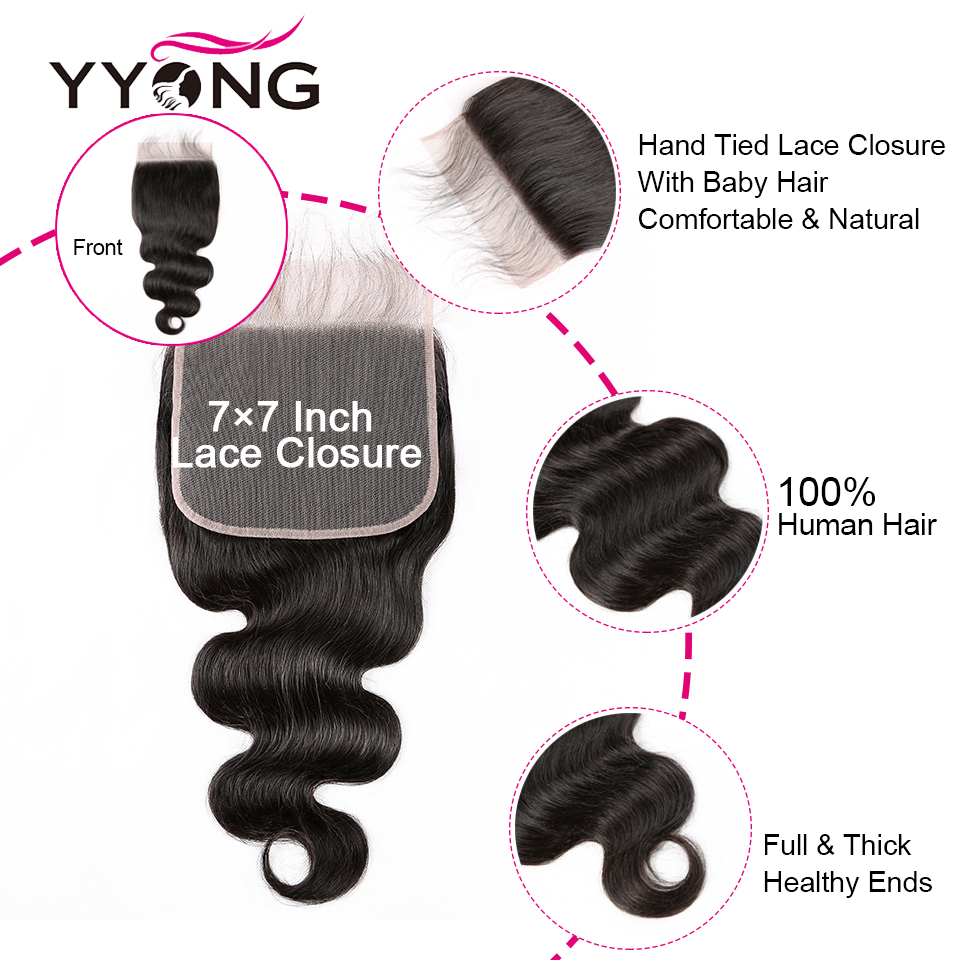 Yyong Body Wave Bundles With 4x4 & 7x7 Closure     3/4 Bundles With Pre-plucked Frontal Closure 6
