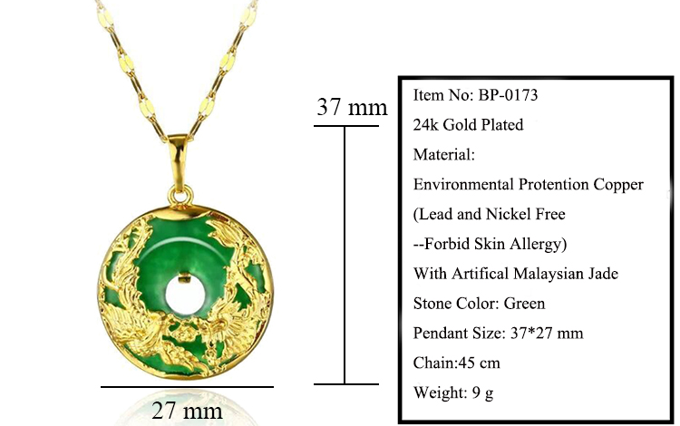 585ff355815e5 MGFam (173P) Dragon and Phoenix Pendant Necklace For Women Green Malaysian  Jade China Ancient Mascot 24k Gold Plated with 45cm Chain