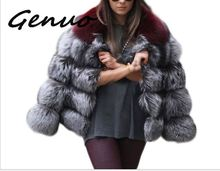 Genuo New Women Winter Luxury Faux Fox Fur Coat Slim Long sleeve collar coat Jacket Outwear Fake Coats