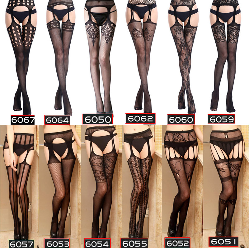 Women Sexy Lingerie Hollow Out Tights Lace Stockings Female Thigh High Fishnet Embroidery Transparent Pantyhose Stripe Stockings