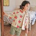 2017 Meninas Roupas de frutas impressão meninas casaco crianças denim casacos manga Comprida coreano estilo curto casacos de roupas Primavera menina