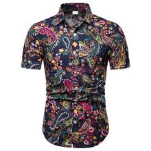 Linen Shirts Men Casual Mens Flower Slim Fashion Short sleeve Hawaiian Style Male Floral Blouse Summer
