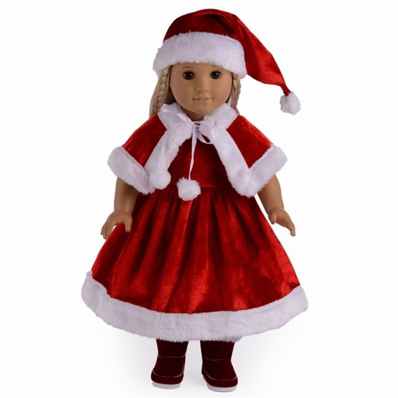 Hot Selling Red Christmas party gift American Girl Doll Accessories Baby Born Doll Suit Fit 18 inch Baby Born Doll ZK01 18 inches american girl doll baby doll clothes accessories handmade christmas suit