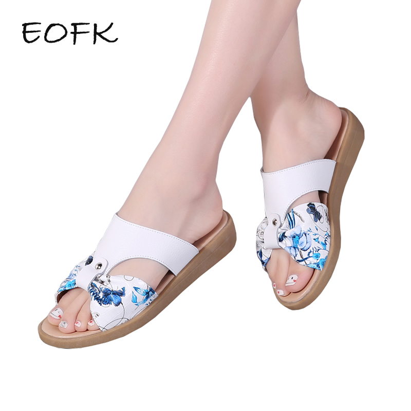 EOFK New Women Slippers Shoes Summer Genuine Leather Women Slides Fashion Printing Ladies Flat Shoes Woman