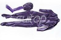 latex full cover zentai with zip back including socks hoods glove detached in Metallic purple