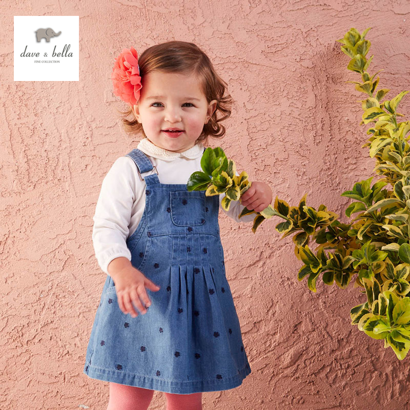 ФОТО DB4410 dave bella baby girl denim blue dress flower embroidery dress suspender skirt
