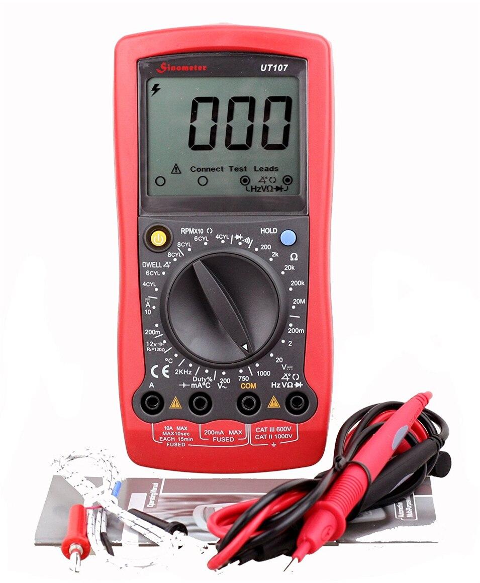 Testeur de fréquence de résistance de voltmètre de multimètre de température de tension de testeurs à ca/cc multi-usages des véhicules à moteur de UNI-T UT107 LCD