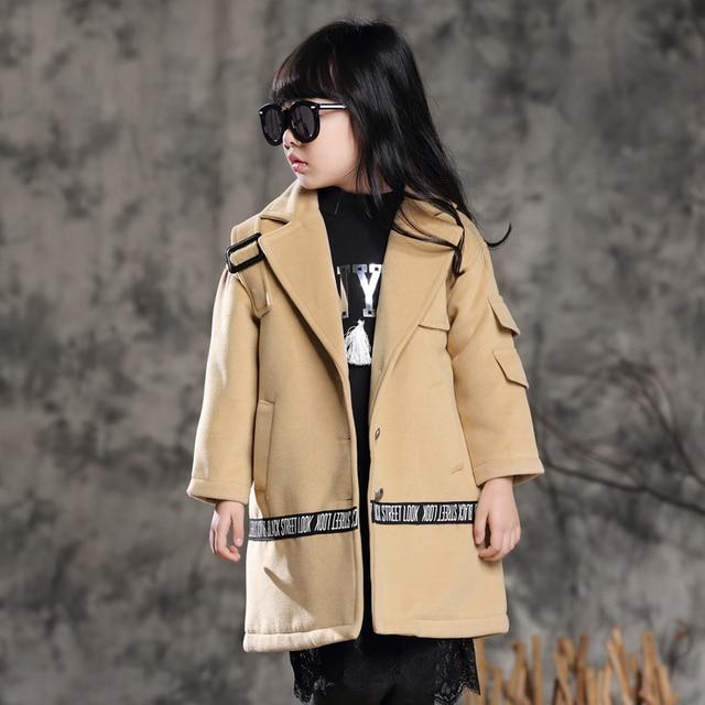24da25b5f638 Girls Trench Coats Woolen Jackets For Girls Clothing Tops Kids ...
