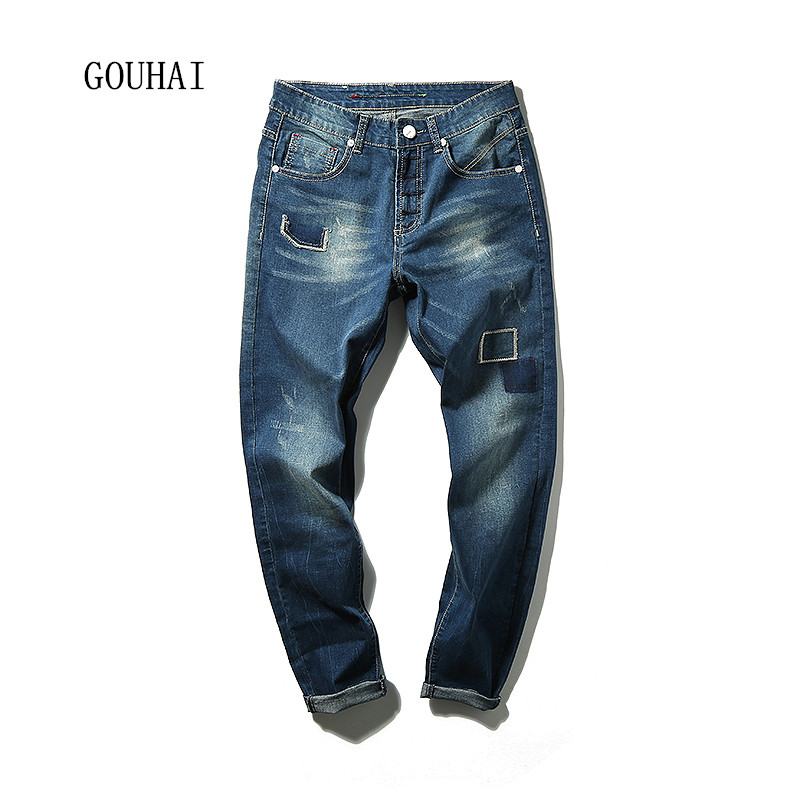2016 New Arrival Fashion Blue Men Jeans Straight Plus Size 29 42 New Hole Design Slim