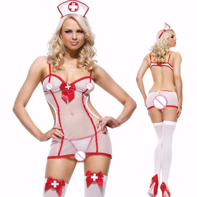 Women Sexy Lingerie Hot Fancy Temptation Backless Nurse Uniform Cosplay Night Dress Set Babydoll Lingerie G-String Sleepwear