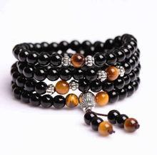 цена на Natural Black Obsidian Stone Bracelets 6mm 108 Beads with Tiger Eye Stone for Lover Men Women Crystal Bracelet Jewelry