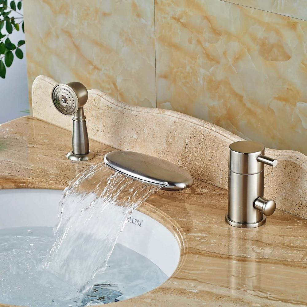 3 Pcs Waterfall Bathroom Bathtub Basin Sink Mixer Tap Brass Bath Tub Faucet Set Brushed Nickel chrome brass finish 5 pcs long spout waterfall bathtub sink tap bathroom mixer hand held tub mixer faucet set