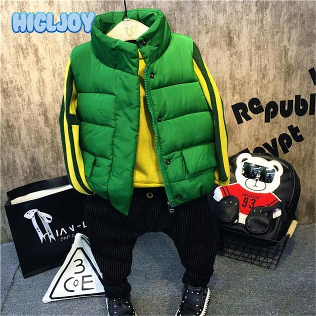 2017 Winter Jackets Boys Teenage Coats Kids Parkas Korean Style Fashion Green Thick Jackets Vest HIGLJOY Children Clothes 8T
