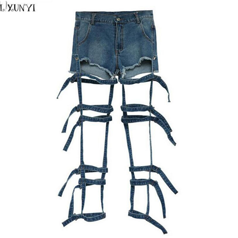 LXUNYI  High Waisted Denim Shorts 2017 Summer jeans Women Fashion Personality Bandage Hollow Out Washed Shorts Feminino Two Wear