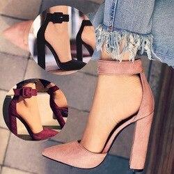 EOEODOIT Для женщин демисезонные туфли-лодочки в современном классическом стиле на не сужающихся книзу высоких массивных туфли-лодочки на кабл...