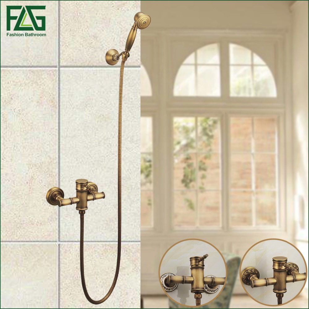 FLG Free Shipping Luxury Antique Style Soild Brass Bamboo Bath Tub Faucet W/ Handheld Shower Head Faucet Mixer Tap Wall Mounted