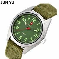 Famoso Reloj de Los Hombres Del Deporte Al Aire Libre Relojes de pulsera de Cuarzo Correa de Lona Militar del Ejército Del Reloj Del Compás Tela Analógico