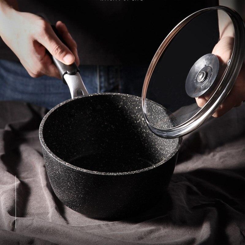 Nouveau Pot à lait 18cm pierre Maifan Pot antiadhésif bébé complément alimentaire Pot nouilles instantanées casserole épaississement approfondissement riz pierre Pot