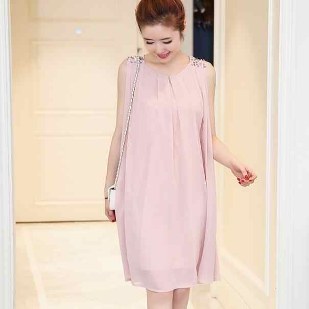 Beading Pleated Chiffon Maternity Dress 2018 Summer Tank Dress Clothes for Pregnant Women Pregnancy Casual Clothing DW848