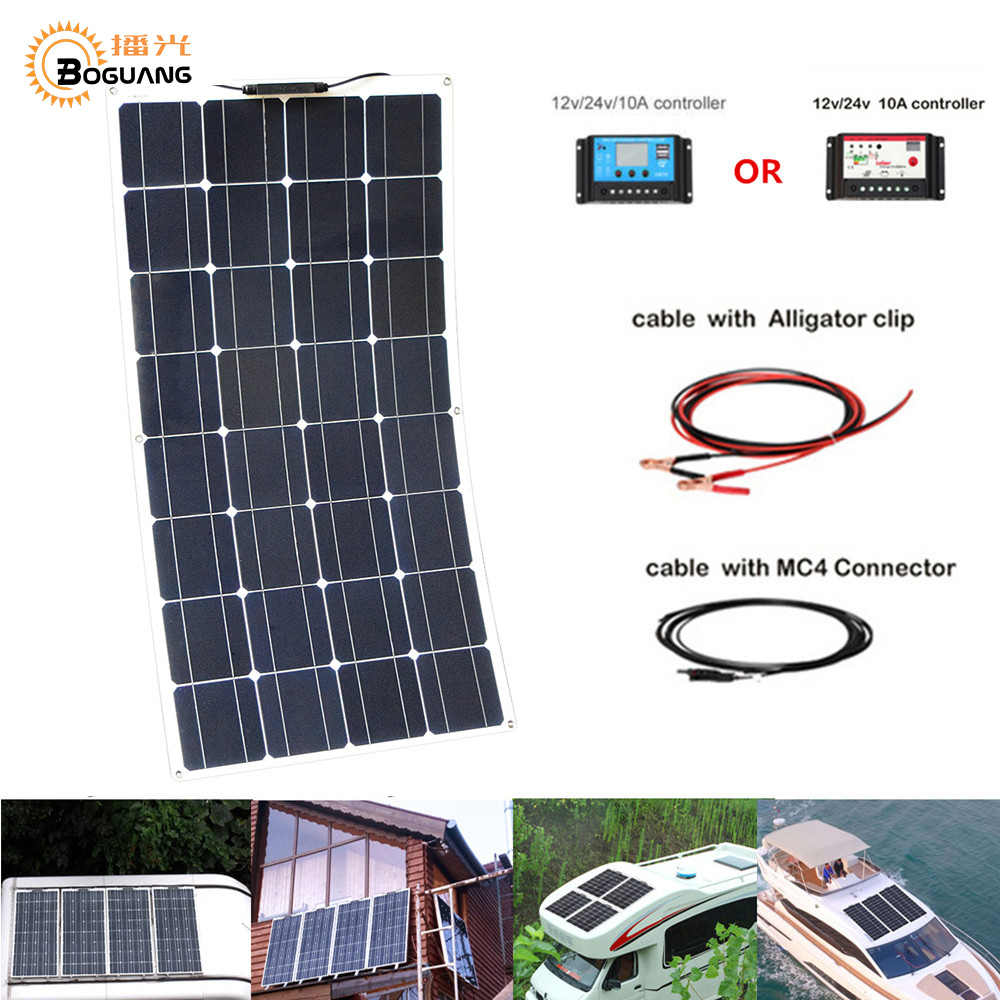 100W Flexible Solar Panel 12V System kit + 10A Controller Cables  Alligator Clip MC4 Connector for Yacht,Boat,RV, Battery Charge