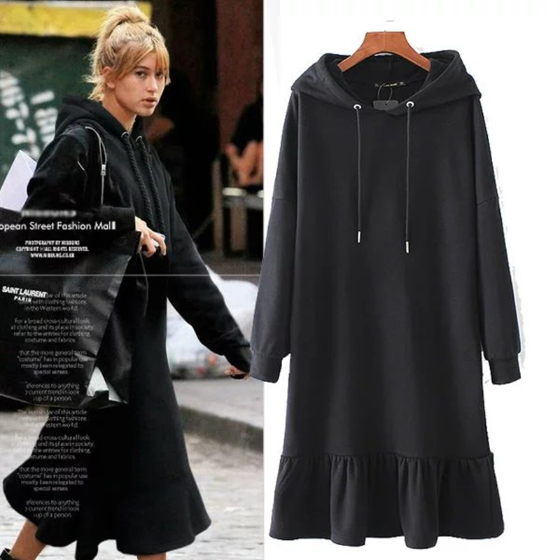 Withered 2017autumn BTS sweatshirt hoodies women high street black long lenght dress plush upset pullovers women tops plus size
