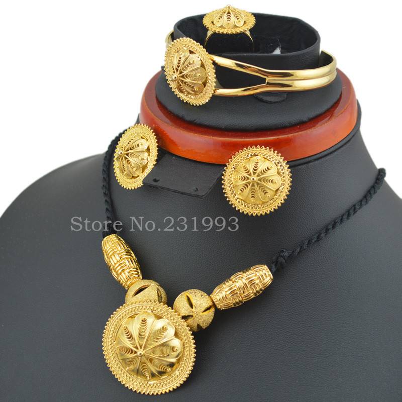 Ethlyn Fashion new style Ethiopian jewelry sets Gold Color Habesha