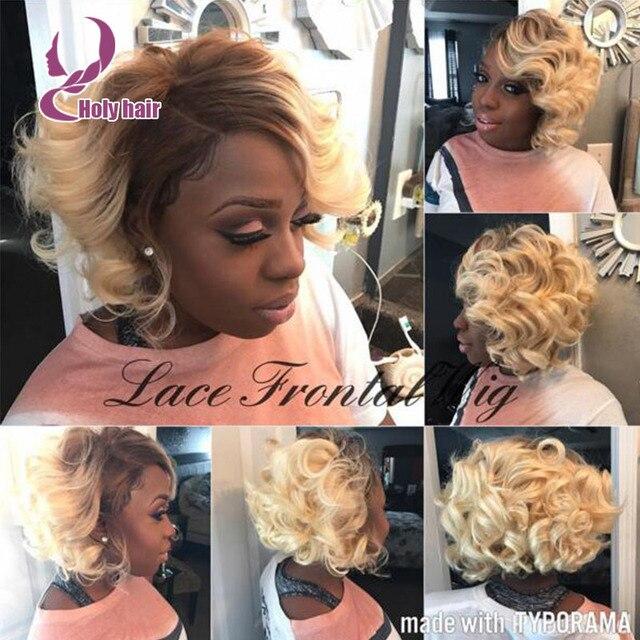 2016 blond ombre short wigs for black women