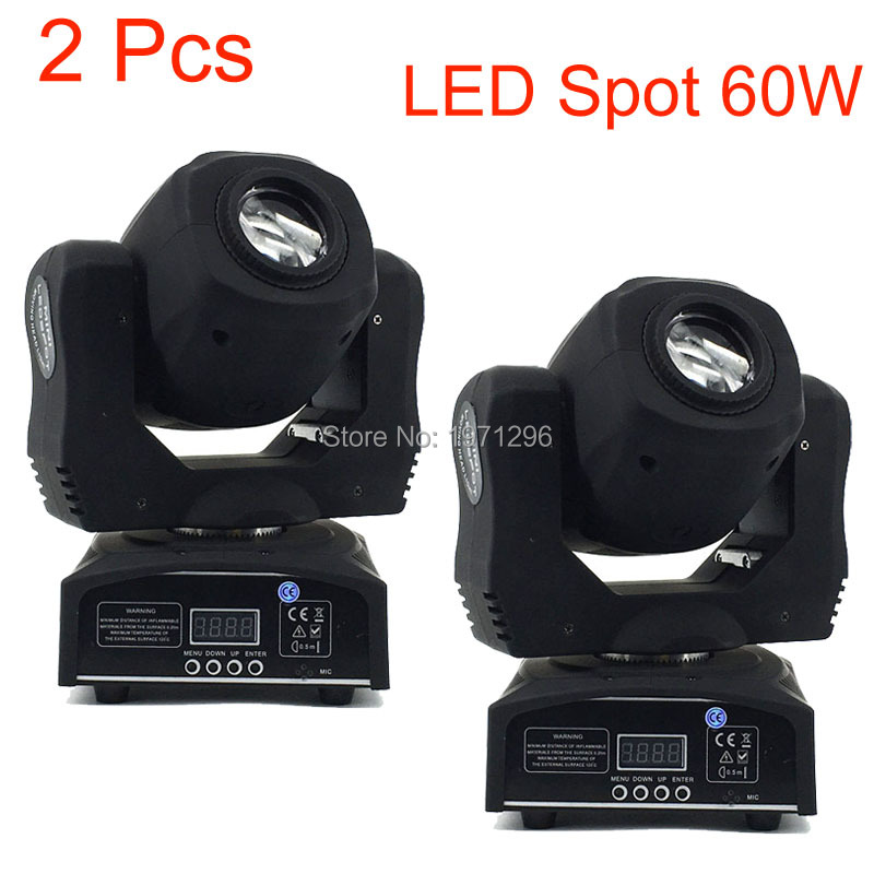 2 Pcs Stage Led Spot 60w 7 Gobos Moving Head Light DMX 9/11 Channels Light/Master-Slave/Auto Run/Sound Controller Fast Shipping niugul dmx stage light mini 10w led spot moving head light led patterns lamp dj disco lighting 10w led gobo lights chandelier