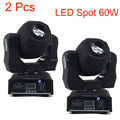2 Pcs Stage Led Spot 60w 7 Gobos Moving Head Light DMX 9/11 Channels Light/Master-Slave/Auto Run/Sound Controller Fast Shipping