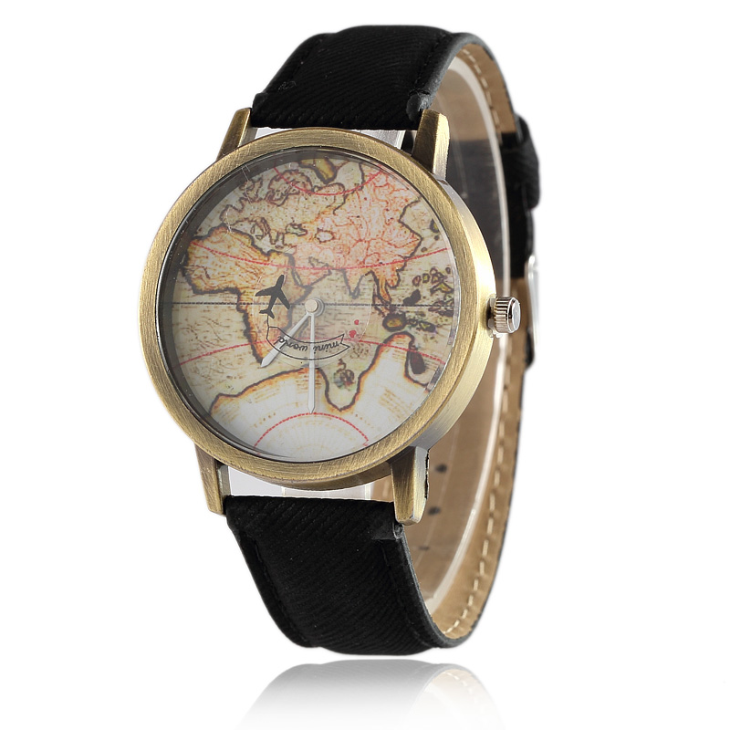 Casual Vintage Leather Women Watch Fashion Sport Quartz Men Watches Female World Map Aircraft Wristwatch Hot Sale Clock fashion leather watches for women analog watches elegant casual major wristwatch clock small dial mini hot sale wholesale