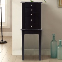 Goplus Jewelry Cabinet Armoire Storage Chest Stand Organizer Modern Wood Free Stand Necklace Storage Mirrored Cabinets HW55997