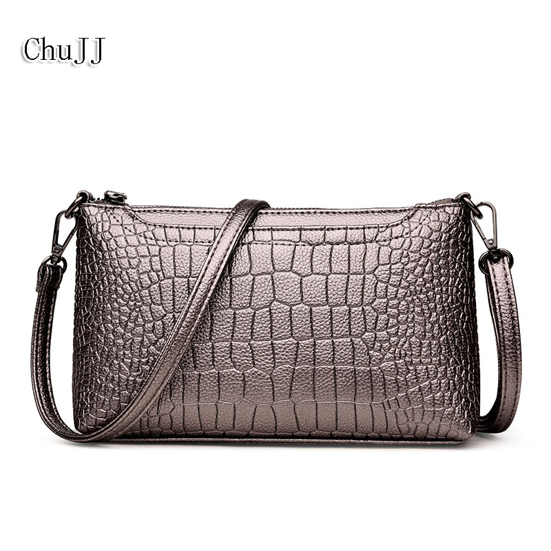 Women's Genuine Leather Handbags Small Cow Leather Day Clutches Alligator Shoulder CrossBody Bags Fashion Soft Flap Women Bags