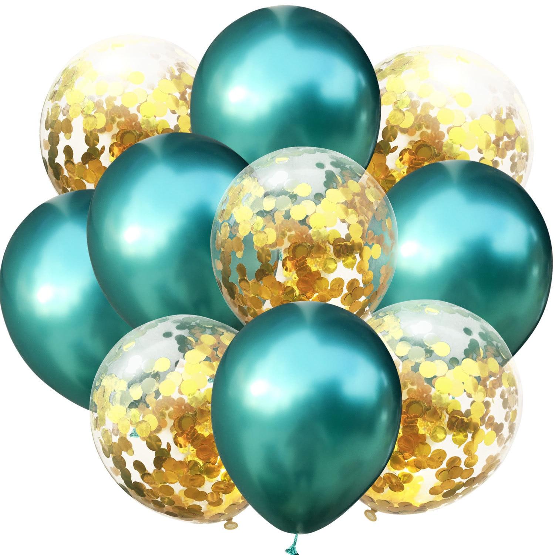 10 шт./лот, 12 дюймов, 5 шт., металлический цвет+ 5 шт., конфетти, латексные шары, для детей, для дня рождения, украшения, шары, мультяшная шляпа, игрушка - Цвет: green  gold