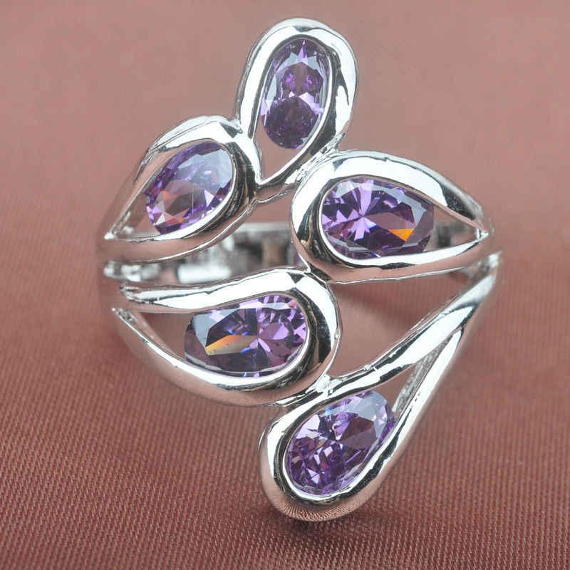 ประดับเพชรรัสเซีย Cubic Zirconia ชุบเงินผู้หญิงแหวนเครื่องประดับจัดส่งฟรีขนาด 6 7 8 9 SA022