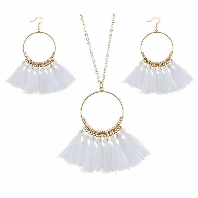 Vintage Bohemian Tassel Necklace Earrings Set Big Circle Pendant Necklaces Drop Earrings New Party Dress Jewelry Sets For Women