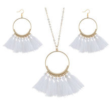 Vintage Bohemian Tassel Necklace Earrings Set Big Circle Pendant Necklaces Drop Earrings New Party Dress Jewelry Sets For Women(China)