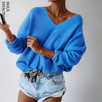 Autumn Casual Pullovers Sweaters Women Hollow out Loose V neck Top Long Sleeves Solid Knitted Cotton Office Ladies Soft Sweaters